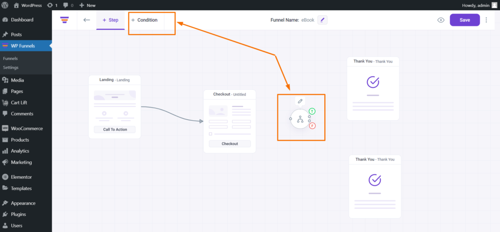 WP Funnels Add Conditional Node