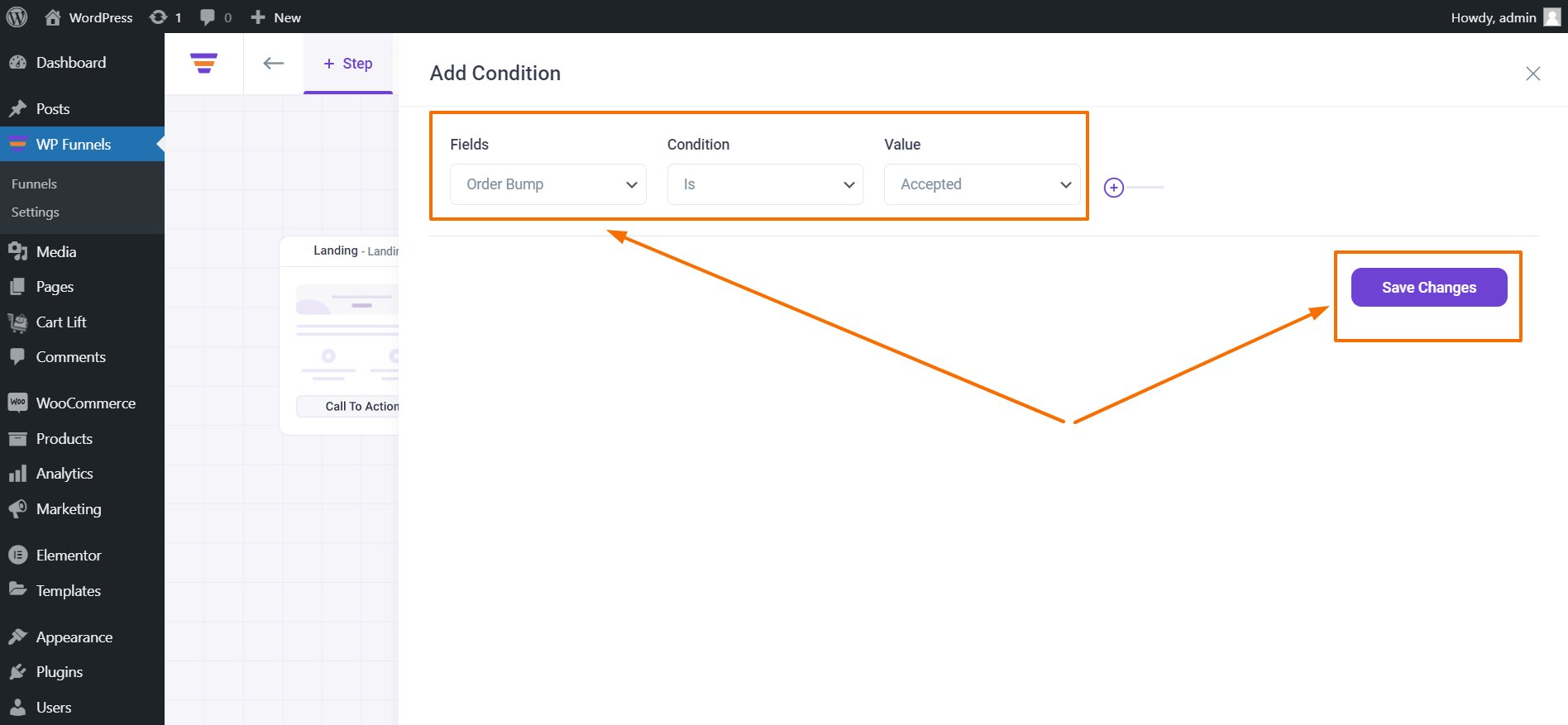 WP Funnels Conditional Node Rules