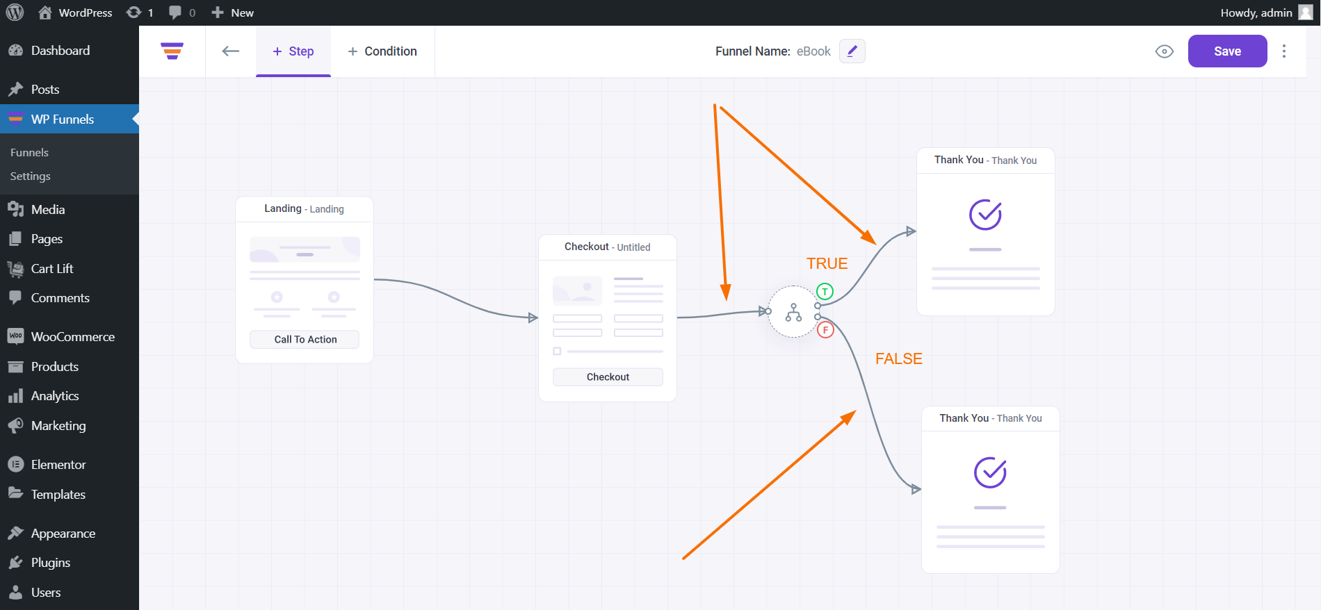 WP Funnels Canvas Connect The Steps