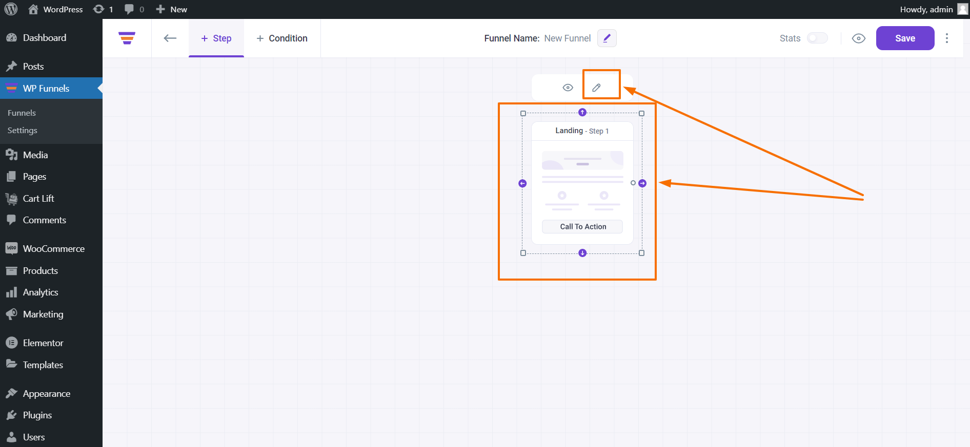 WP Funnels Landing Page Step