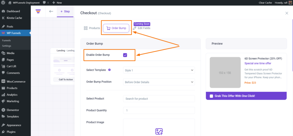 WP Funnels Enable Order Bump