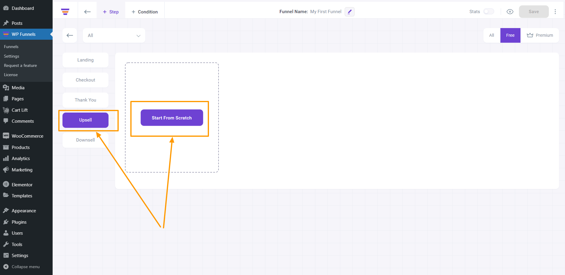 WP Funnels - Select Upsell From Step Selection Menu