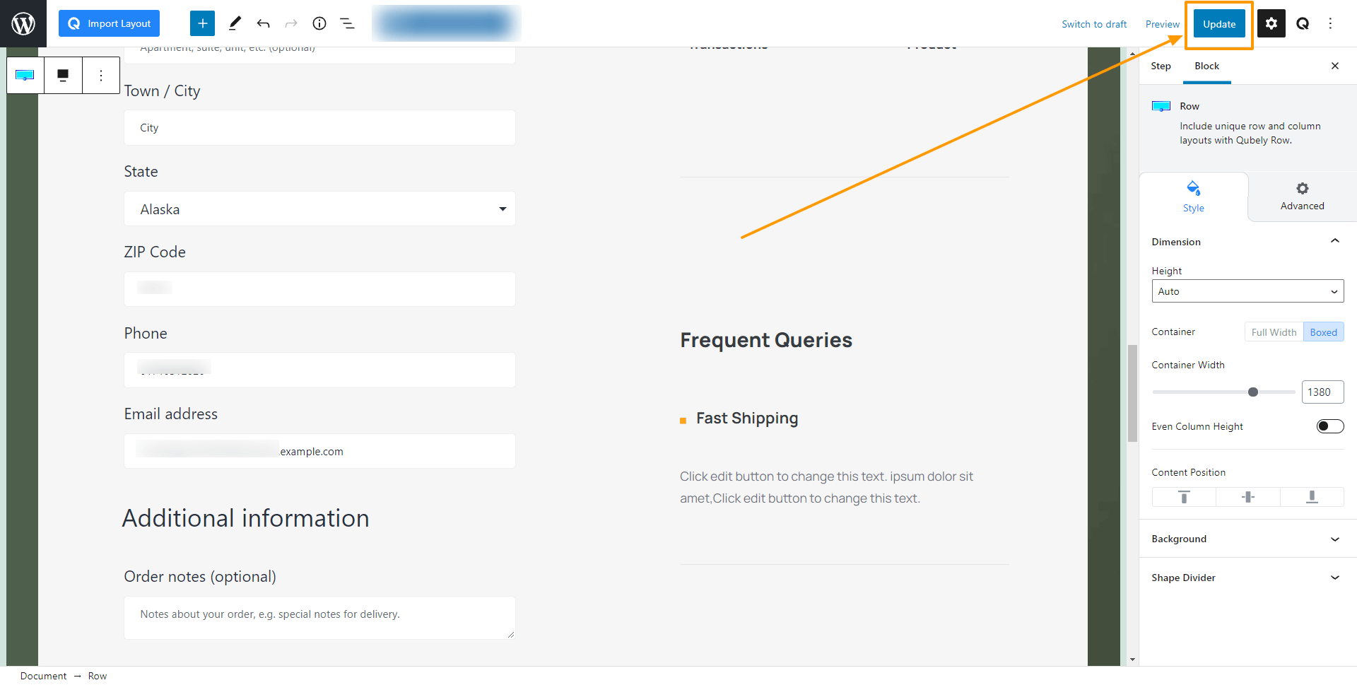 WPFunnels Update Checkout Page