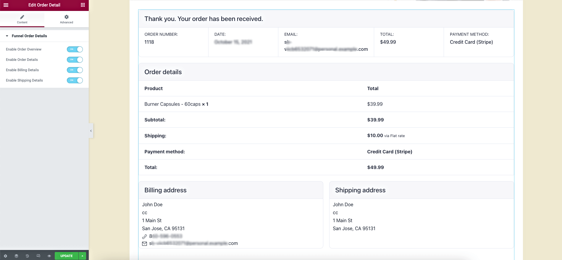 Thank you step order details widget
