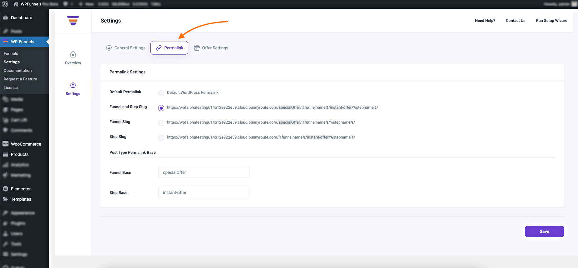 WPF Settings - Permalink tab