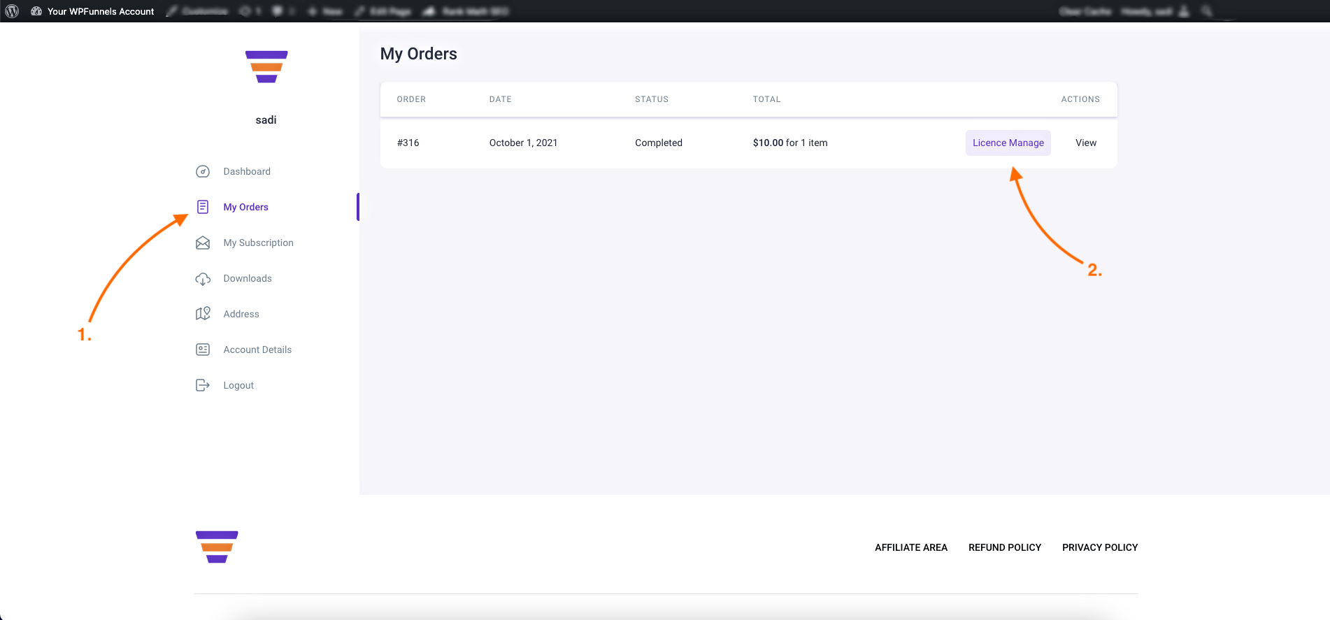 My Orders page