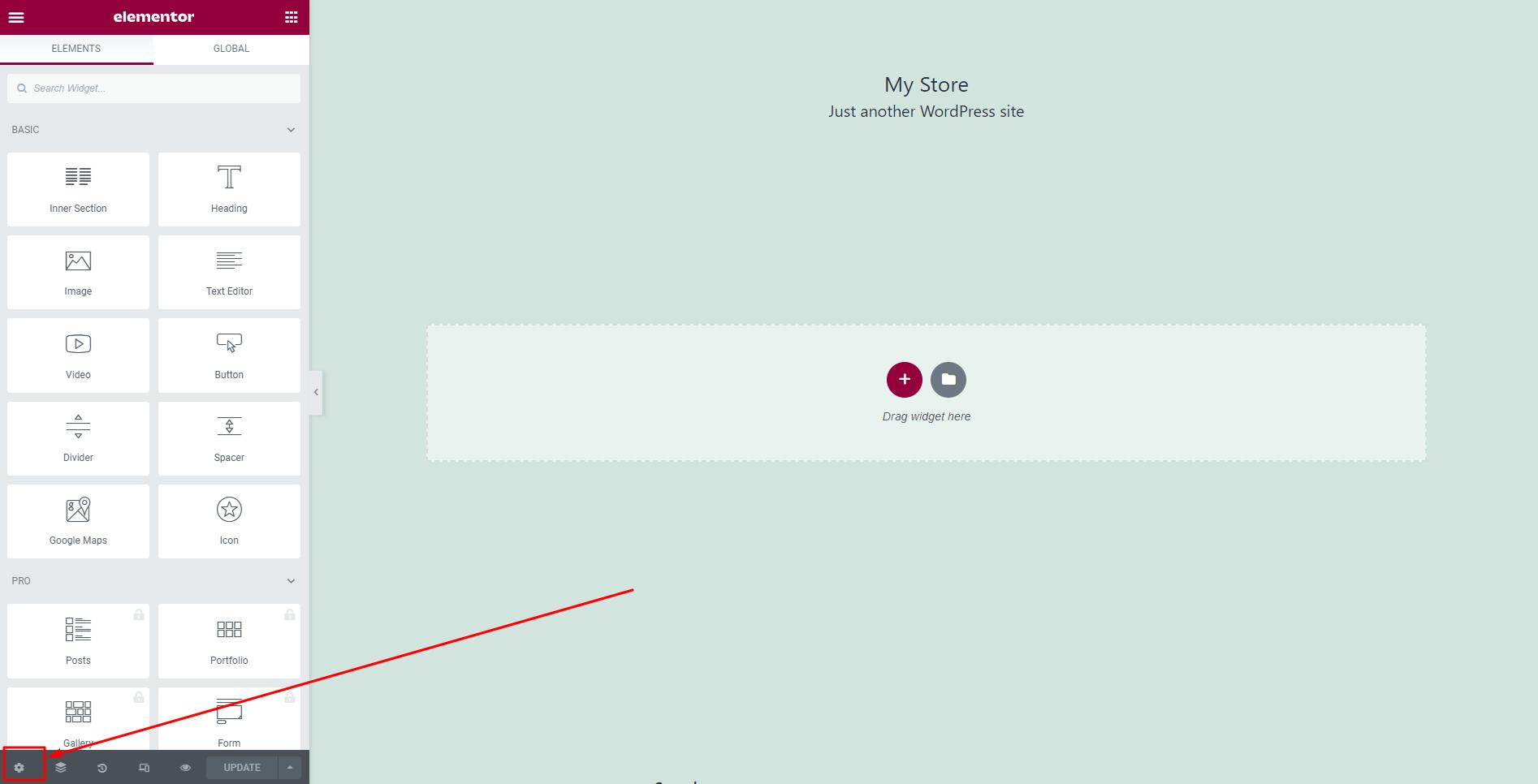 WPFunnels Elementor Settings Button