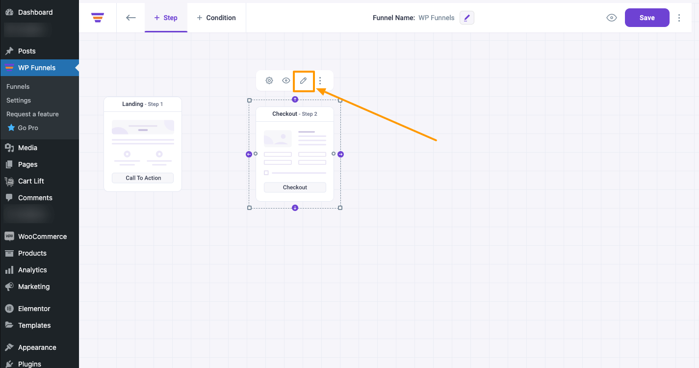WPFunnels Checkout Page Edit Option