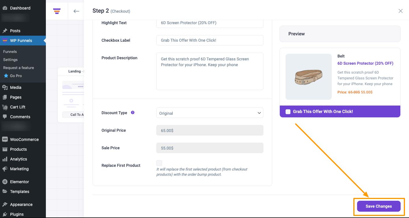 WPFunnels Order Bump Save Changes Button