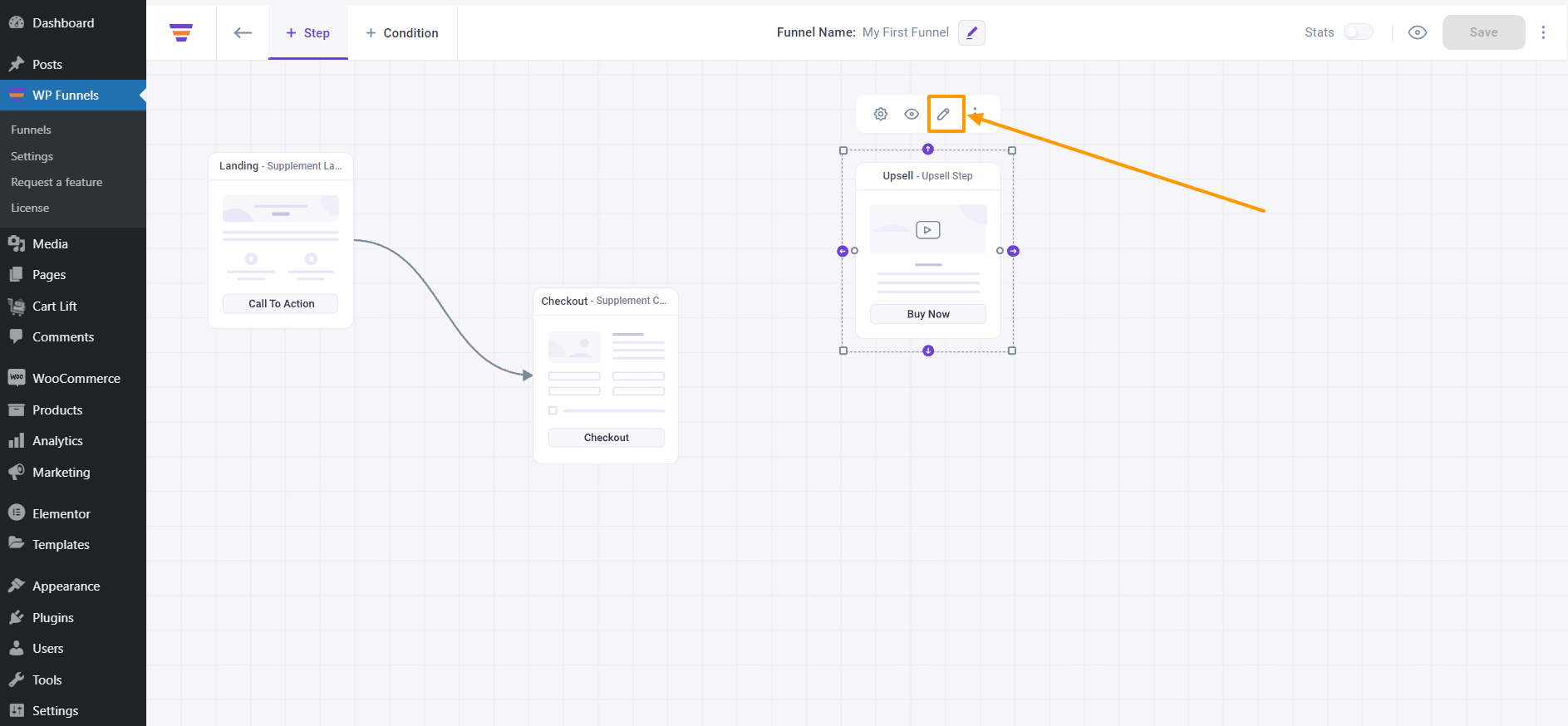 WP Funnels Upsell Page Edit With Elementor - Edit Button