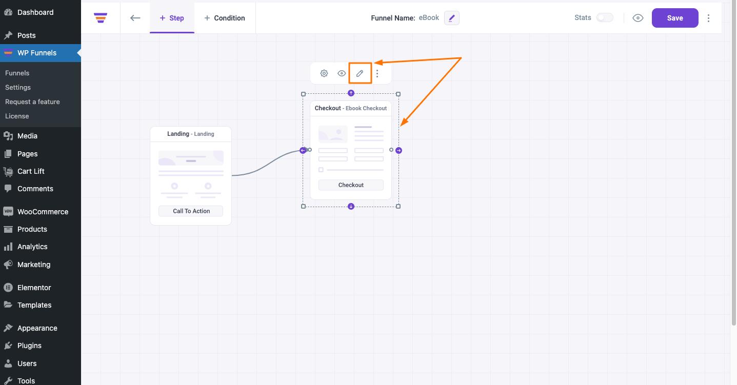 WPFunnels Checkout Step Edit Option