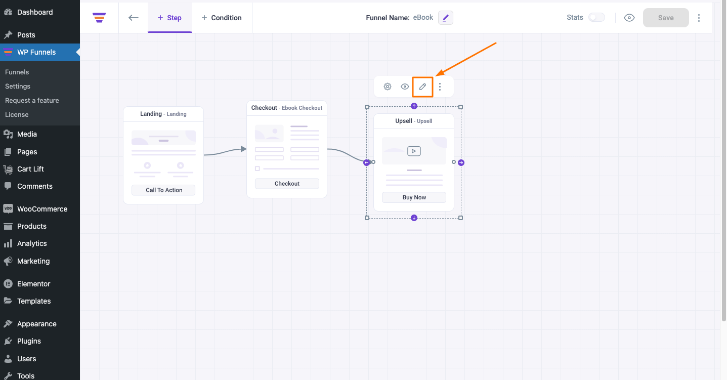 WPFunnels Edit Upsell Page Button