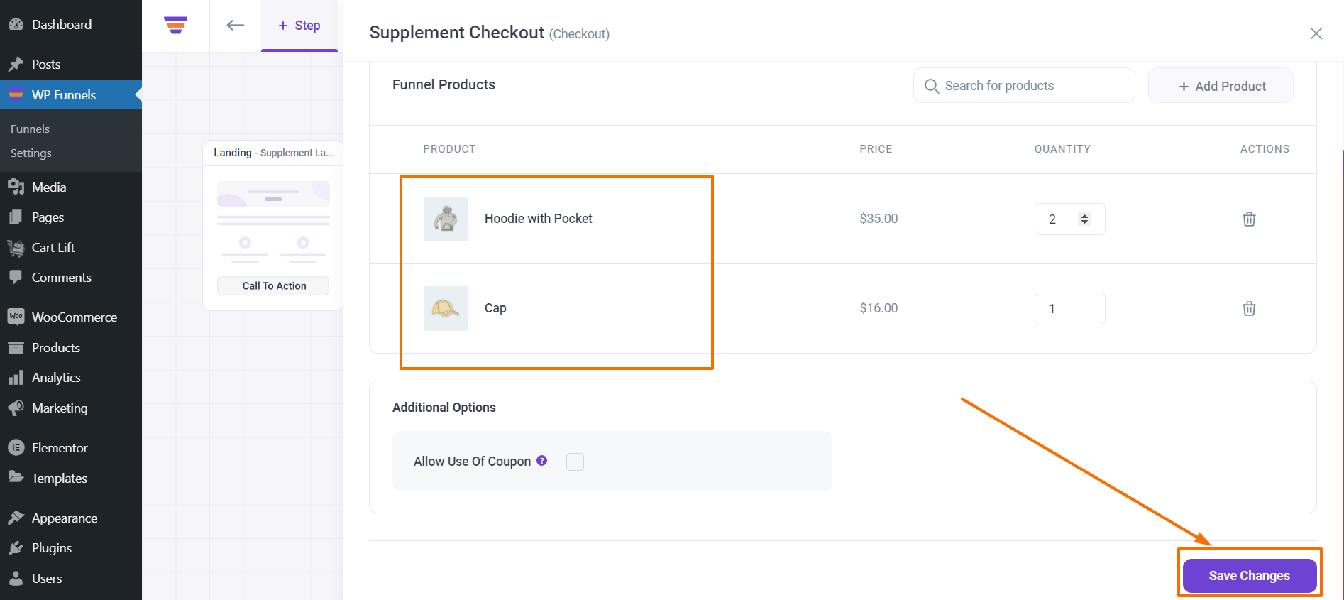 WPFunnels Save Checkout Products