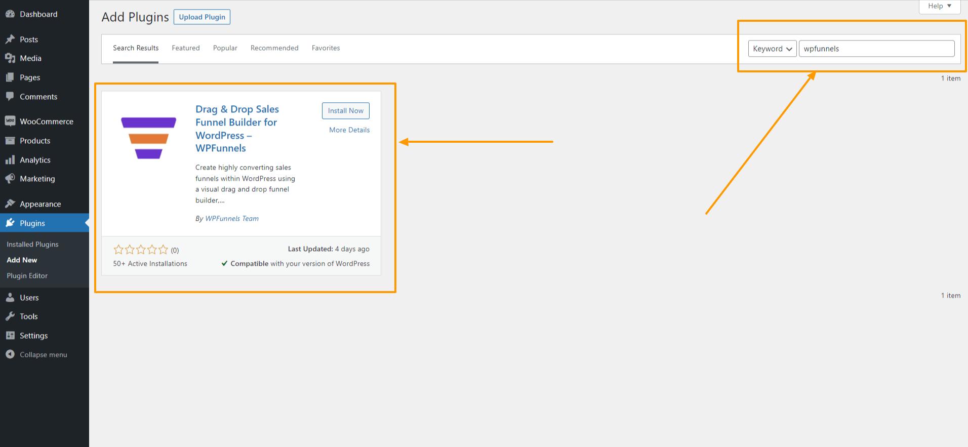 WordPress - Search WPFunnels